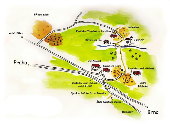 Mapa cesty na osadu